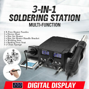 3 in 1 Lcd Solder Station Soldering Iron Desoldering Rework Hot Air Heater
