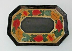 Antique 19th Century 8 Sided Toleware Tole Ware Tray Flora Bouquet Decoration