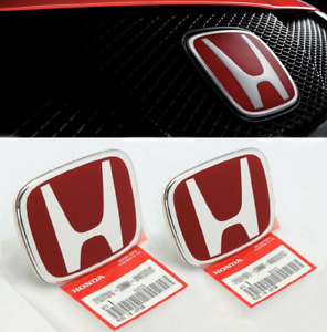2pc Red Honda Emblem Type R Red Front And Rear For Honda Civic Sedan 06 15 Jdm