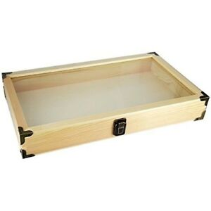 Jewelry Wood Box Organizer Case Clasp Wooden Glass Clear Top Display Storage Box
