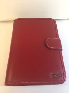 Franklin Covey Day One Planner Organizer Red 6 Ring Binder Snap Close Red