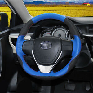 For Toyota Rav 4 corolla Car Steering Wheel Cover Black Suede W Blue Leather