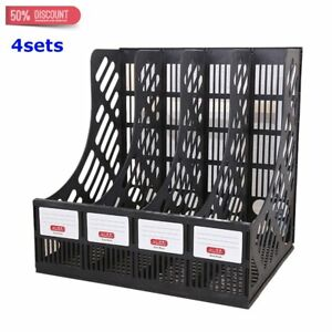 4sets Magazine Storage Organizer Holder File Black New 4 Compartment To