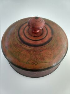 Antique Afghanistan Round Painted Wood Spice Box 8 1 2 Diameter