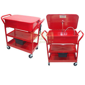 20 Gallon Mobile Parts Washer Cleaner Cart Solvent Pump Tank Drying Shelves