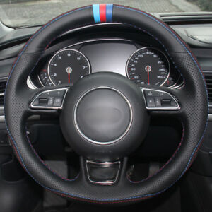 Black Leather Black Suede Blue Red Marker Steering Wheel Cover For Audi A3 A5 A7