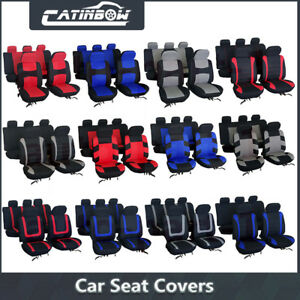Universal Car Seat Covers Front Rear Head Rests Full Set Red Blue Gray 12 Type