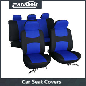 Car Seat Covers Blue Full Set Universal For Auto W Steering Wheel 5 Head Rest