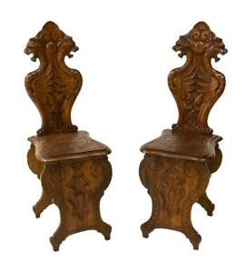 A Pair Of Italian Winged Griffen Carved Hall Chairs Antique