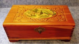Antique Wooden Dovetailed Box With Country Scene