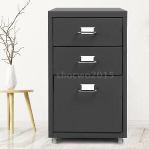 Ikayaa Metal Drawer Filing Cabinet Mobile Cabinets W 3 Drawers Dark Gray F5w2