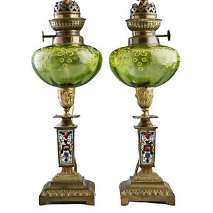 Pair Of French Champlev And Art Glass Oil