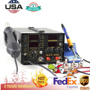 3 In 1 853d 5a Smd Dc Power Supply Hot Air Gun Rework Soldering Station Welder