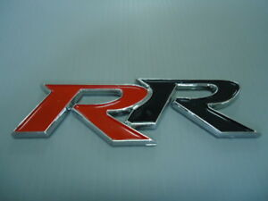 Car 3d Rr Fender Trunk Badge Emblem Black Red Double R