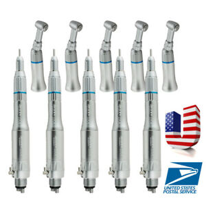 5 Set Dental Low Speed Handpiece Kit E type Air Motor Straight Contra 4h Fit Nsk