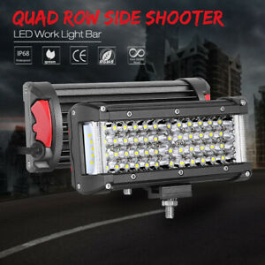 2pcs 580w Side Shooter Quad Row Led Spot Flood Beam 6000k Driving Jeep 4wd 7in