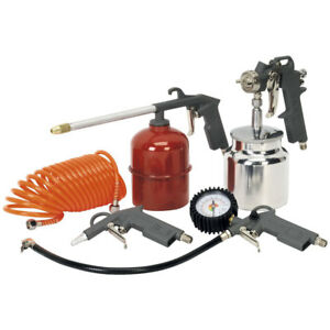 Sealey Sa33 s Feed Spray Gun Air Tool accessory 5 Piece Kit Workshop garage