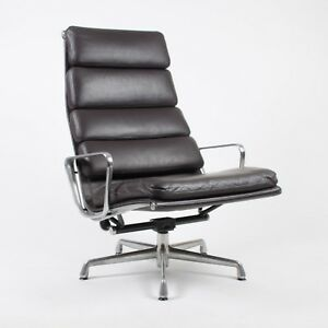 Eames Herman Miller High Soft Pad Aluminum Group Lounge Chair Brown Leather