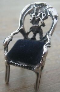 Incredibly Sweet Balloon Back Chair Solid Silver Pin Cushion Or Dolls House