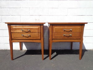 Pair Of Nightstands Mid Century Danish Modern Furniture Bedside Tables Set Mcm