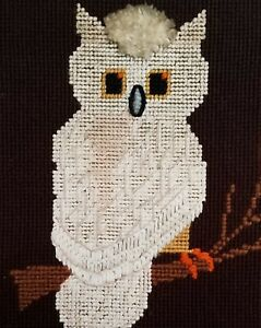 Owl Vintage Needlepoint Mid Century Modern Hand Stitched Framed Groovy 60s 70s