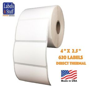 6 Rolls 620 Labels Of 4x2 5 4 X 2 1 2 Direct Thermal Zebra Eltron Labels