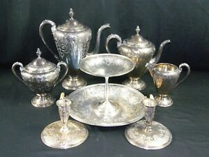 Antique Deco Paisley Chased Ornate Wilcox Sp Co 8 Pc Tea Coffee Set Candlestick