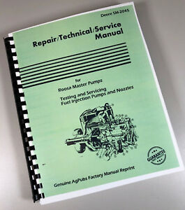 Service Manual For John Deere C Cb Roosa Master Fuel Injection Pumps Sm2045 Book