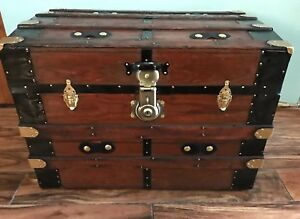 Trunks N Treasures Beautiful Refinished Antique Flat Top Trunk Chest W Tray