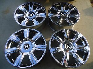 Set Of 4 Factory Chrome Bentley Flying Spur 20 Wheels Rims Continental Gt