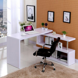 White Corner Computer Desk Rotating L Shape Gaming Study Pc Table Home Furniture