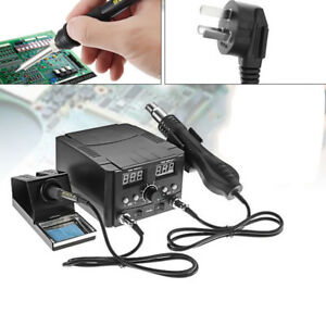 750w Digital Soldering Desoldering Iron Station Hot Air Gun Solder Rework 220v