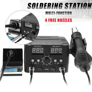 2 In1 Soldering Rework Station Iron Hot Air Gun Smd Welder Tool 4 Nozzles Us