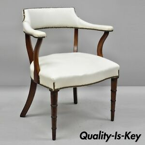 Vintage Mahogany Regency Style Barrel Back Library Chair With Faux Bamboo Legs
