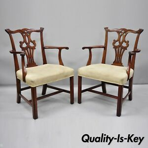 Pair Vintage Solid Mahogany Chippendale Style Dining Chairs Armchairs Attr Baker