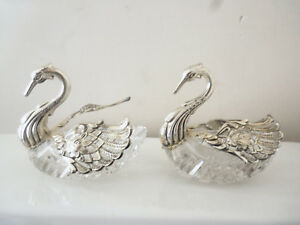 Fine Pair Large German Cut Crystal And Sterling Silver Swan Master Salt Dishes