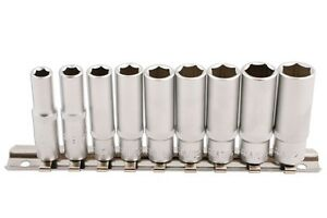 Chrome Vanadium Af Imperial Deep Socket Set On Rail 1 4 12