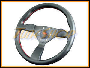 Italy Personal Neo Grinta 350mm Steering Wheel Black Leather Red Stiching Horn