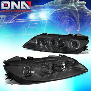 For 2003 2005 Mazda 6 Pair Smoked Housing Clear Corner Projector Headlight lamps