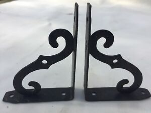 Pair Made In Italy 4 X 3 Vintage Antique Iron Scrolled Shelf Support Brackets
