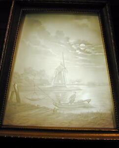German Lithophane Shadow Box Mantle Lamp Nght Light Windmill Fishing Oyster Boat