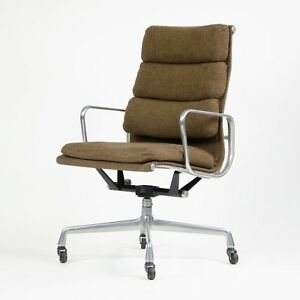 Vintage Fabric Eames Herman Miller High Back Soft Pad Aluminum Chair 1980 S