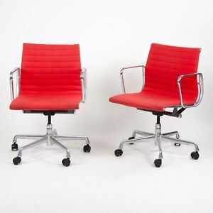 2007 Eames Herman Miller Aluminum Group Executive Desk Chair Red Fabric 2x
