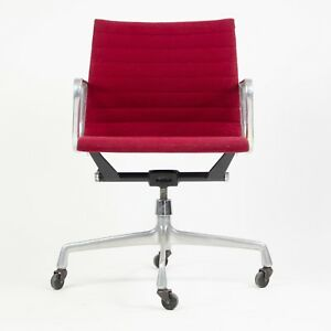 1982 Eames Herman Miller Aluminum Group Executive Desk Chair Red Fabric