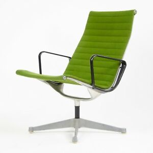 1960 S Green Eames Herman Miller Aluminum Group Lounge Chair Fabric Knoll