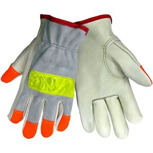 12 Pairs High Viz Reflective Roadwork Driver Leather Work Gloves Xl X large
