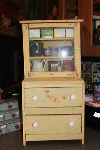 Antique Primitive Childs Step Back Cupboard Old Chippy Paint