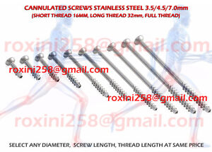 100 Pcs Stainless Steel Cannulated Screws 3 5mm 4 5mm 7 0mm Self Tapping