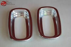 60 66 Chevy Gmc Fleetside Pickup Truck Rear Tail Light Lamp Bezels Aluminum New