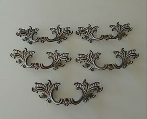 French Provincial Drawer Pulls Brass 3 Bore Lot Of 5 White Brown Fancy Ornate